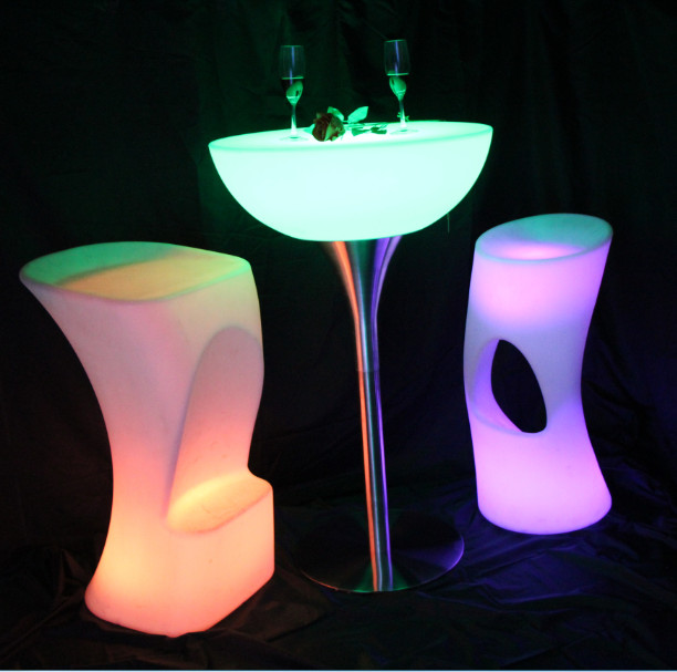 color changes Glow High Bar Stool with LED Lights