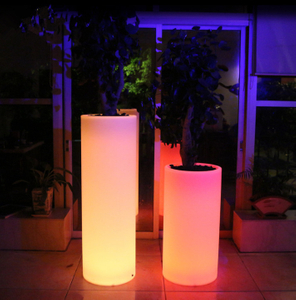 Illuminated Glowing Tall Plastic Flower Pots