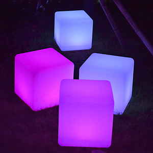PE Color Changing Illuminated LED Cube chair