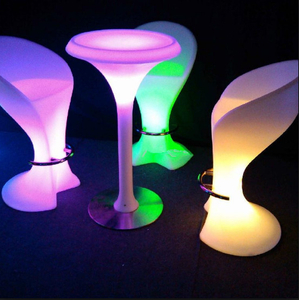 PE colors change LED Commercial Bar Stools